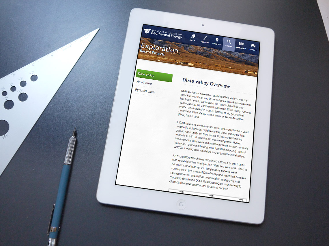 tablet view of GBCGE website