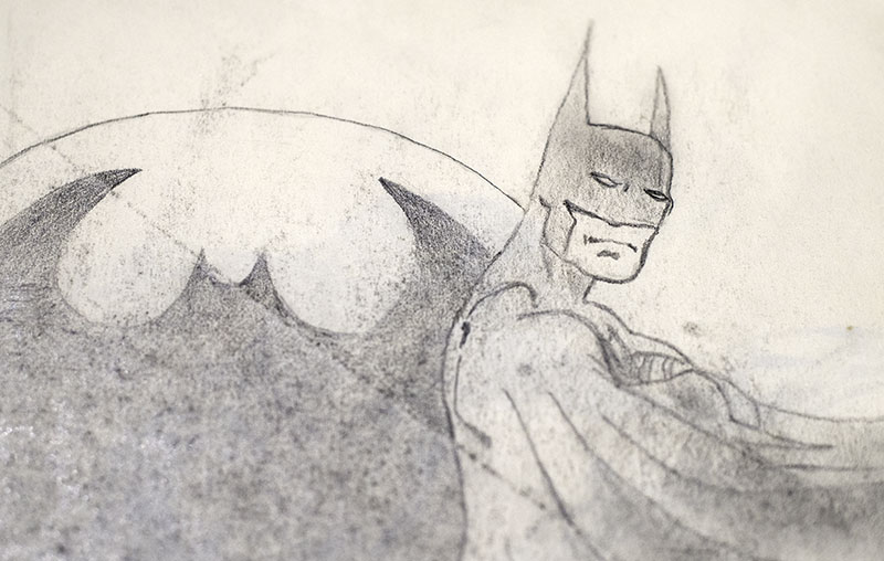 pencil drawing of Batman
