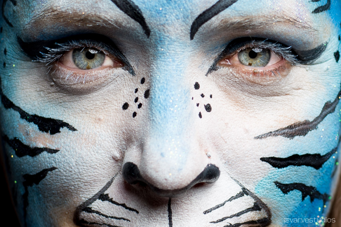 blue tiger face painting